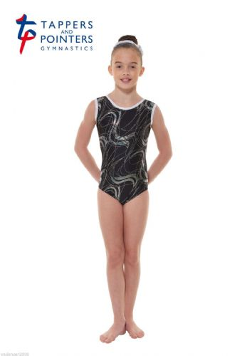 Tappers and Pointers Gymnastics Leotard PLUS Matching HairScrunchie Black Gym 35